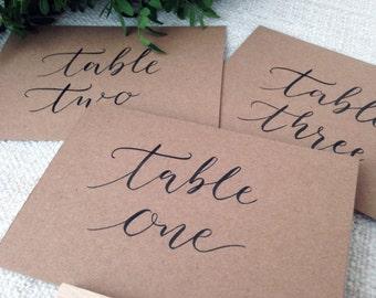 Table Numbers  // Kraft Card // Modern Calligraphy