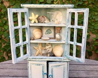 Beach corner cabinet, miniature dollhouse cupboard, nautical dollhouse