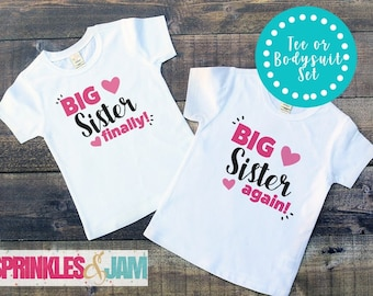Big Sister Shirt, Sister Gift, Baby Shower Gift, Baby Clothes, Baby Announcement, Baby Girl Gift, New Baby Gift, Baby Girl Clothes