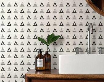 Geometric Wallpaper / Removable Wallpaper / Self adhesive Wallpaper / Triangle Pattern Wall Covering / Monochrome wallpaper - 127