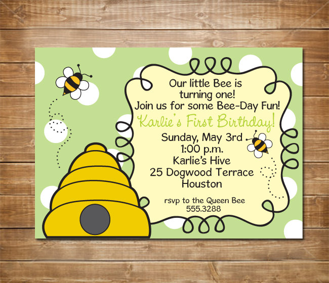 First Birthday Invitation Bumble Bee Party