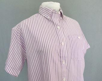 Purple Striped Blouse, Vintage 1980's Button Down Shirt, Fits Size 10 - 12, Medium
