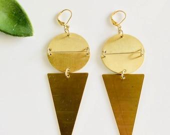 Rich Raw Brass Drop Earrings