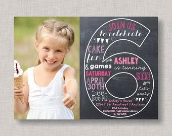 Sixth Birthday Invitation, 6th Birthday Invitation, Girl Birthday Invitation, Photo Invitation, 6th, Number 6, Sixth Birthday