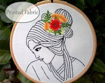 Embroidery Fabric Pattern, DIY embroidery kit, Serenity, face pattern,  Needlework Tutorial,  Embroidery Kit, Modern Hoop Art