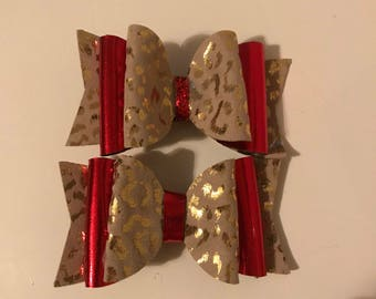"4"" medium size faux leather bows"