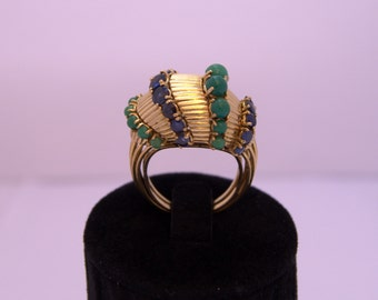 Sapphire Turquoise Gold 18 k Ring Ring in 18 k gold Sapphire and turquoise 40's