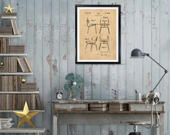 Eames Chair Patent, Patent Prints, Vintage wall art, Patent wall art, home decor