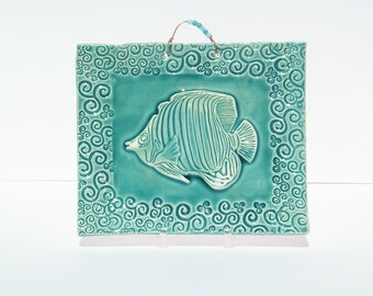 Large Fish Tile in Turquoise
