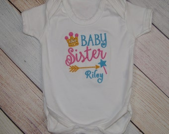 Personalized Baby Sister Princess Crown Bodysuit - Baby Announcement - Pregnancy Announcement - Pregnancy Reveal - Sibling Crown Shirt