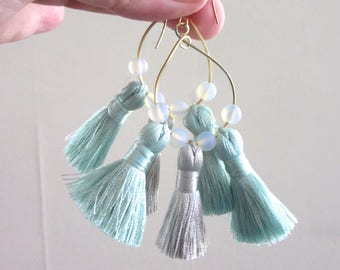 Seafoam Green Blue and Grey Gray Tassel Hoop Earrings