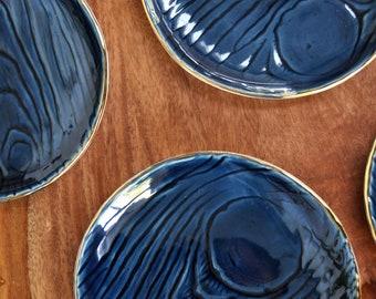 Navy Blue Gold Rim Ring Dish - Faux Bois Wood grain Ceramic Plate, Trinket Dish, Ring Dish, Hndmade Pottery Wedding Gift Housewarming Gift