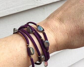 Purple Suede wrap bracelet or necklace