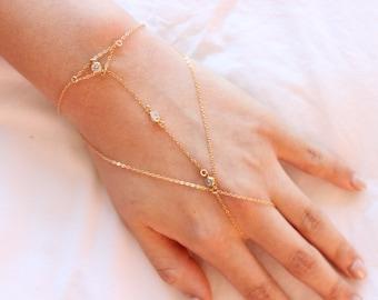 CZ Hand Bracelet, 14k Gold Filled or Sterling Silver Chain Slave Bracelet