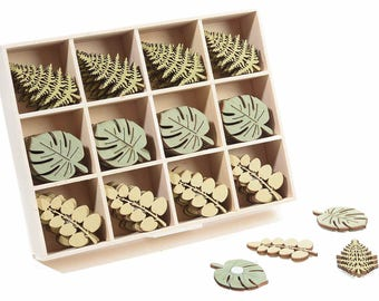 Leaves Wooden Tags Self Adhesive Decorations 24 pcs