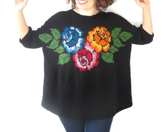 Black Hand Knitted Sweater with Roses Pattern Plus Size Over Size by Afra