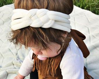 Solid Cream : baby sailors knot headband