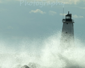 Waves Crashing Against Ludington Lighthouse