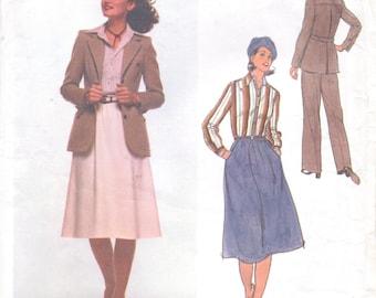 1970s Calvin Klein Womens Jacket, Shirt, Skirt & Pants Vogue Sewing Pattern 1619 Size 10 Bust 32 1/2 UnCut Vogue American Designer