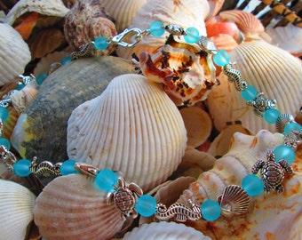 447 Aqua beach sea shells, seahorse, seaturtle handmade beaded ocean necklace