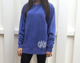 Monogram Sweatshirt - Monogram Tunic - Monogrammed Comfort Colors Sweatshirt - Monogram Pullover - Monogram Long Sweatshirt