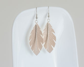 Leaf and Chain Leather Earrings