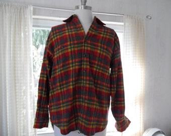Vintage McGregor Wool Barn Coat Field Jacket Sherpa Zip Hood Plaid Lined Men's Unisex un1DoU
