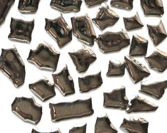 Silver Glazed Ceramic Jigsaw Puzzles Mosaic Tiles//Mosaic Pieces//Mosaic Supplies//Jewelry//Craft