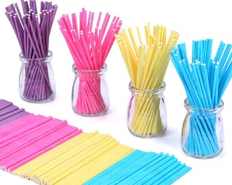 Cake Pop Sticks / Colorful Lollipop Dessert Handle Sticks / Pink, Blue, Purple, Yellow Party Cake Pop Handles / Fun Kids Baking Accessories
