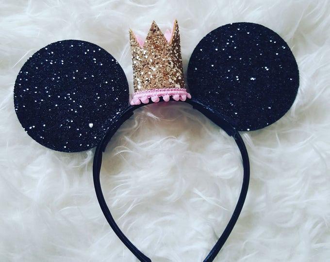 Glittery Princess Mouse Ears |  Minnie Mouse Ears Headband | Minnie Mouse Birthday | Minnie Mouse Headband | Minnie Ears | Mouse Ears