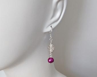 Lightweight Earrings, Violet Pearls, Purple Jewelry, Leverback, Animal Rescue, Birthday Gift, Silver Jewelry, Popular Earrings, Handmade