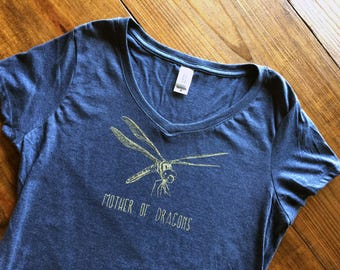 MOTHER OF DRAGONS - Navy or Black Hoodie or Womens V-neck T-Shirt Game Thrones Dragonfly Nature - Smiling Snake Shirt Company smilingsnake