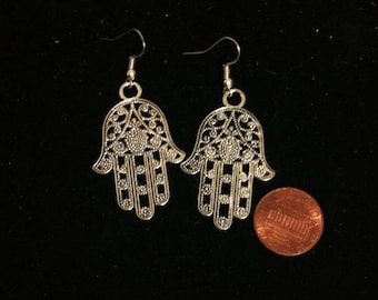 Hamsa Hand Earrings, Protection Earrings, Ready to Ship, Hamsa Hand, Silver Plated, Filigree Hamsa Hand, Nickel Free Earrings