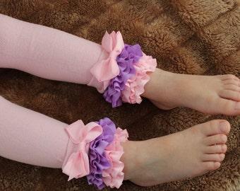 Girls tights, baby leggings, pink ruffle leggings w/ bows- 0-12m to 4-6 yrs