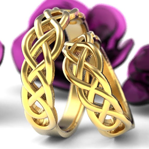 Celtic Wedding Ring Set With Woven Knotwork Design in 10K 14K 18K Gold, Palladium or Platinum, Made in Your Size CR-763