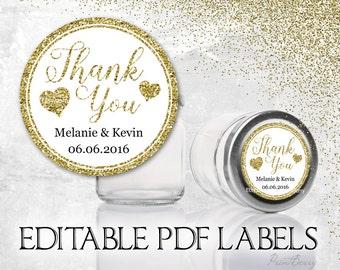 Editable Thank you tags Editable gift tags editable labels Editable PDF Printable Avery labels Thank you labels gold Wedding thank you