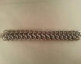 Interwoven 4in1 Chainmail Bracelet, Base Metal Cuff