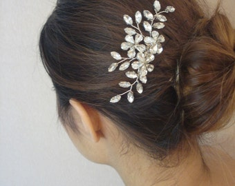 Silver or Gold Tone Bridal Rhinestone Hair Comb, Hand Wired Crystal Flowers and Leaves, Wedding Headpiece, Ruth - Ships in 3-5 Business Days