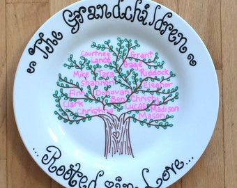 Family Tree Plate, In Color: Personalized Grandparent Plate, Family Name Plate; Hand Painted Family Plate; Mother's Day Plate