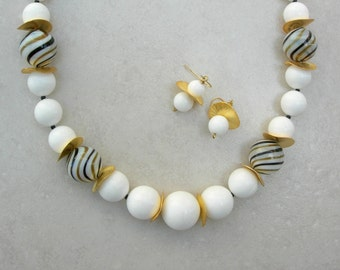 SUMMER Creamy Whites & Swirled Blown Glass Beads, Gold Disks, Good Value, Necklace Set by SandraDesigns