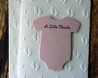 Baby Shower Thank You Cards, Set of 10, Baby Girl Thank You Cards, Embossed Baby Feet Cards, Baby Footprint Cards, Pink Baby Clothes, Girl