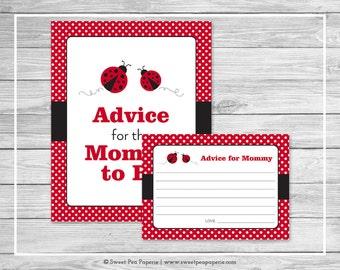 Ladybug Baby Shower Advice for Mom Cards - Printable Baby Shower Advice Cards - Ladybug Baby Shower - Ladybug Shower - Mom Advice - SP140