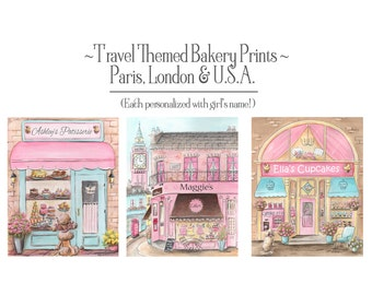 Travel Themed Nursery, Paris, London Themed, Cupcake Shop, Bakery Storefronts, Personalized Girl's Name, Set Of 3, Fine Art Prints, 6 Sizes