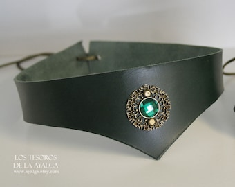 green Leather tiara · Medieval · Warrior headband * leather crown- statement jewelry