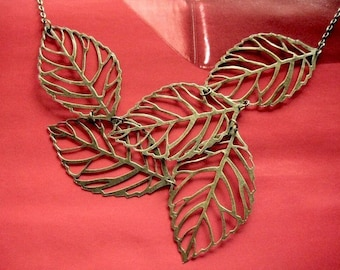 leaves necklace - vintage style brass chunky big multi leaf necklace
