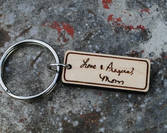 Custom Handwriting Keychain Personalized Message with Signature Memento of Loved One