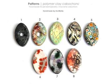 Bohemian Beads, DIY Beads, Polymer Clay Jewelry, Ceramic, Statement, Flat, Macrame Beads, Pattern Beads, Focal, Ethnic, Artisan Beads, Retro