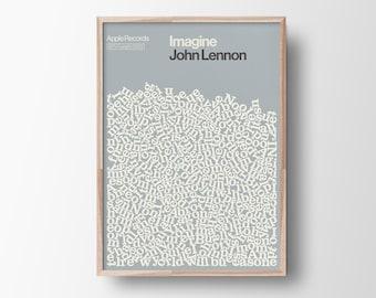 John Lennon Print, Song Lyric Poster, Imagine