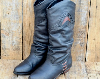 Us 5.5, Uk 3.5, Eu 36, Black Winter Boot, Black Leather Boots, Slouch Boots, Black Slouch Boots, Leather Slouch Boots,