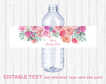 Pink Floral Water Bottle Labels / Water Bottle Wraps / Floral Baby Shower / Printable INSTANT DOWNLOAD Editable PDF A386